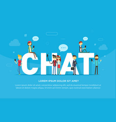 chat concept of young people using vector image