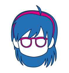 Chibi anime girl face blue hair glasses vector