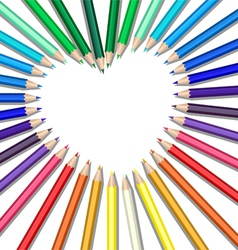 Colored pencils heart vector image