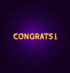 congrats neon sign vector image