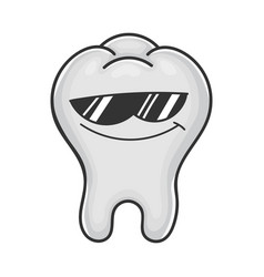 Cool sunglasses tooth cartoon vector