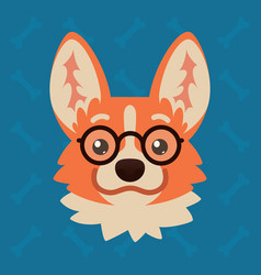 Corgi dog emotional head with glasses vector