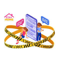 Covid-19 quarantine stay home chat online vector