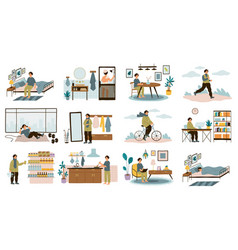 Daily man routine everyday young guy life vector