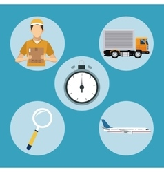 delivery concept transport clock man plane vector image