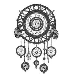 dream catcher in shades of gray monochrome vector image