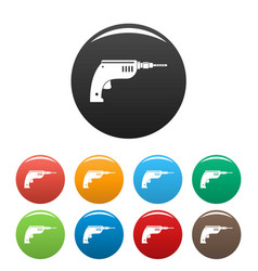 drill icons set color vector image