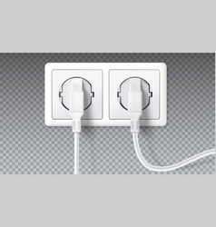 electric plugs in socket realistic white plugs vector image