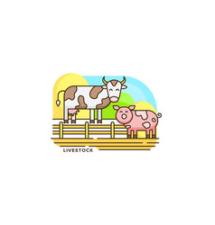 Farm livestock line icon farming of vector
