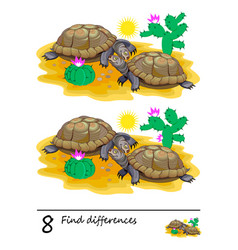 Find 8 differences logic puzzle game for children vector