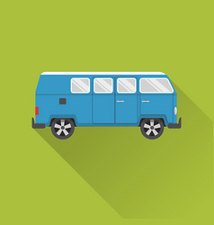 Flat style retro minivan car icon vector