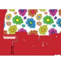 flowers painted on wall vector image