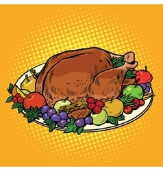 Fried Turkey dish on Thanksgiving day vector