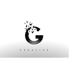 G logo letter with flock of birds flying and vector