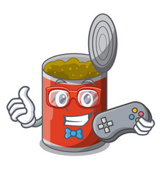 Gamer canned food on the table cartoon vector