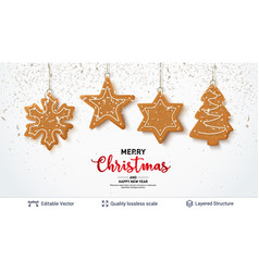 Gingerbread cookies and text on light banner vector