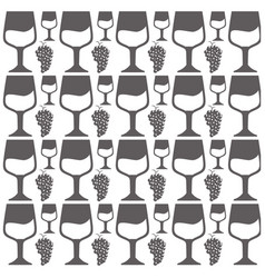 glass cup and bunch grape seamless pattern design vector image