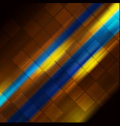 glowing blue orange stripes abstract background vector image