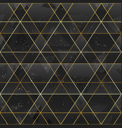 gold triangle grid seamless pattern vector image