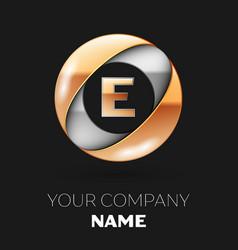 golden letter e logo in the silver-golden circle vector image