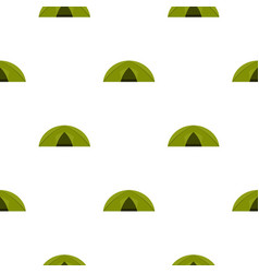 Green tent for camping pattern flat vector