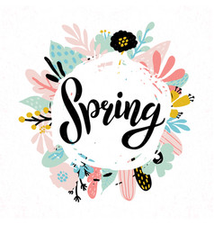 hand sketched spring text vector image