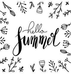 handwritten lettering hello summer with doodle vector image