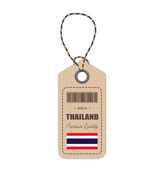 Hang tag made in thailand with flag icon isolated vector