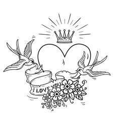 Heart with gold crown swallows ribbon flowers vector