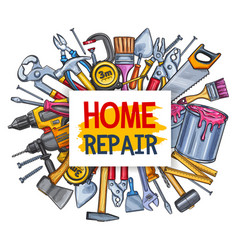Home repair tool poster for conctruction design vector