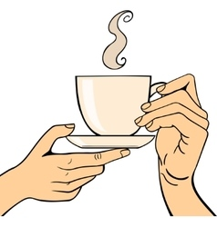 Human hand coffe cup pose vector image