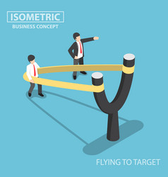 Isometric businessman preparing to fly vector