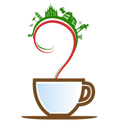 Italian cup coffee with element and flag vector