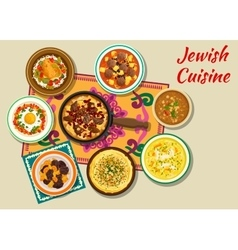 Jewish cuisine kosher dishes for dinner icon vector image