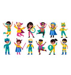kids superheroes children in superhero comics vector image