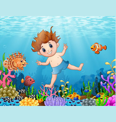 Little boy diving in the sea vector