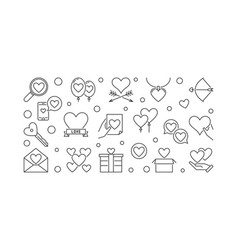Love and feelings minimal banner in thin vector