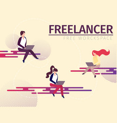 male and female characters freelance home workers vector image