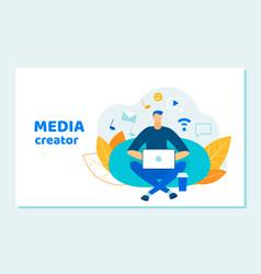 Man blogger social media creator working laptop vector