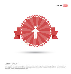 man with idea icon - red ribbon banner vector image