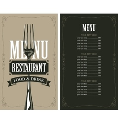 menu with fork vector image