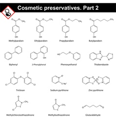 Molecular structures of cosmetic preservatives vector