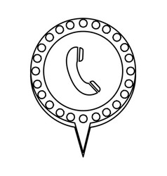 Monochrome silhouette of telephone and circular vector