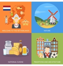 Netherlands 2x2 Flat Icons Set vector image