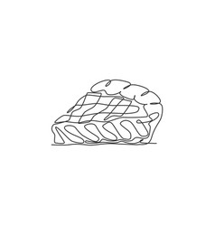 One single line drawing fresh sliced apple pie vector