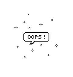 Oops in speech bubble 8 bit pixel art vector