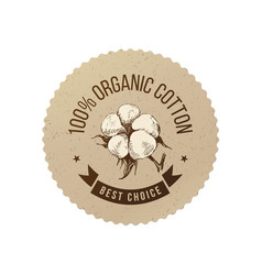 organic cotton emblem vector image