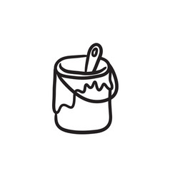 paint brush in the paint tin sketch icon vector image