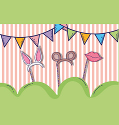 Party flags with headbands animals ears and mouth vector