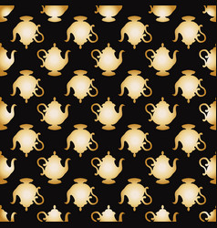 pattern with a gold teapots vector image